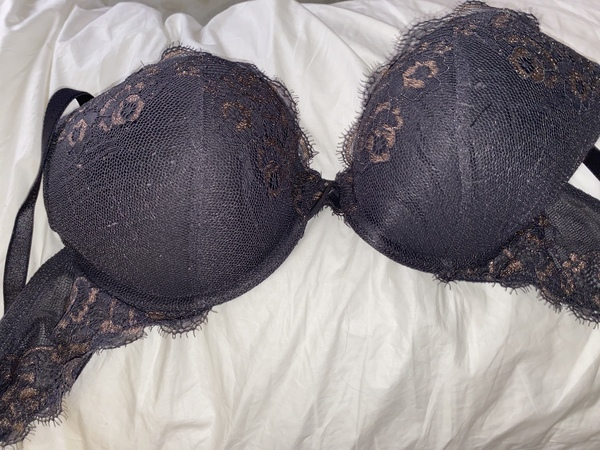 Grey and gold bra C36