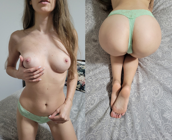 Green thongs with my scent and cum 2 days worn + bonus pics and video!
