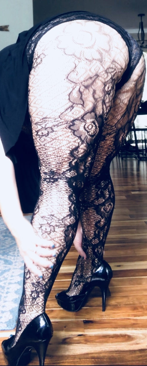 BBW Lace stockings with ripped out crotch
