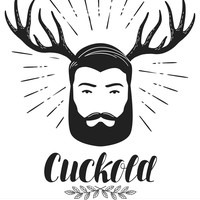 Small cuckold icon or symbol bearded man with horns vector 14243077