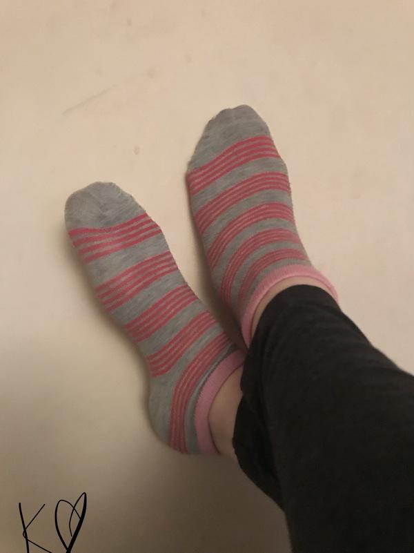 Grey and pink socks