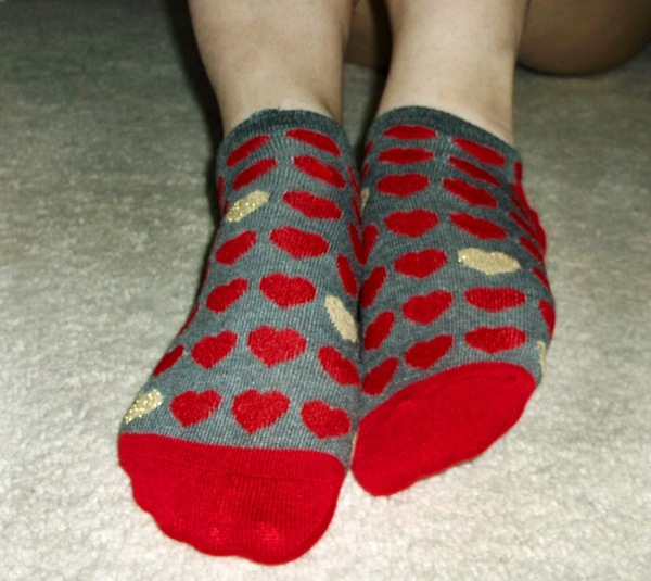 Red and Gold Heart Socks