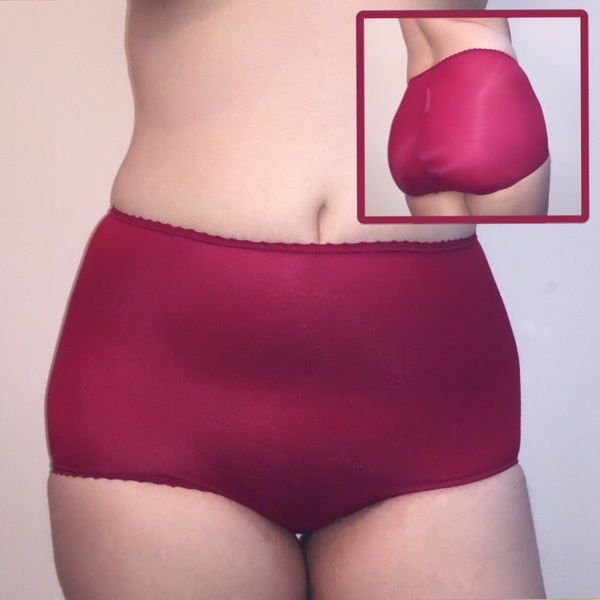 Red High Wasted Nylon Briefs