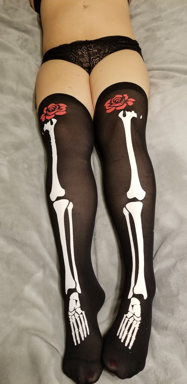 Leg Bone Stockings w/ Rose