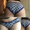 Full Butt Grey with Blue Polka Dots