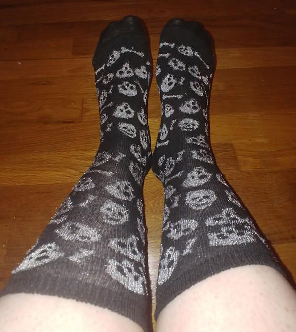 Black and Grey Skull Socks