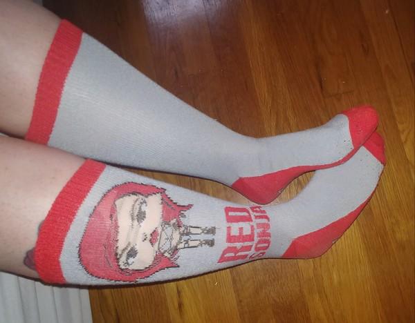 Grey Red Sonja Socks