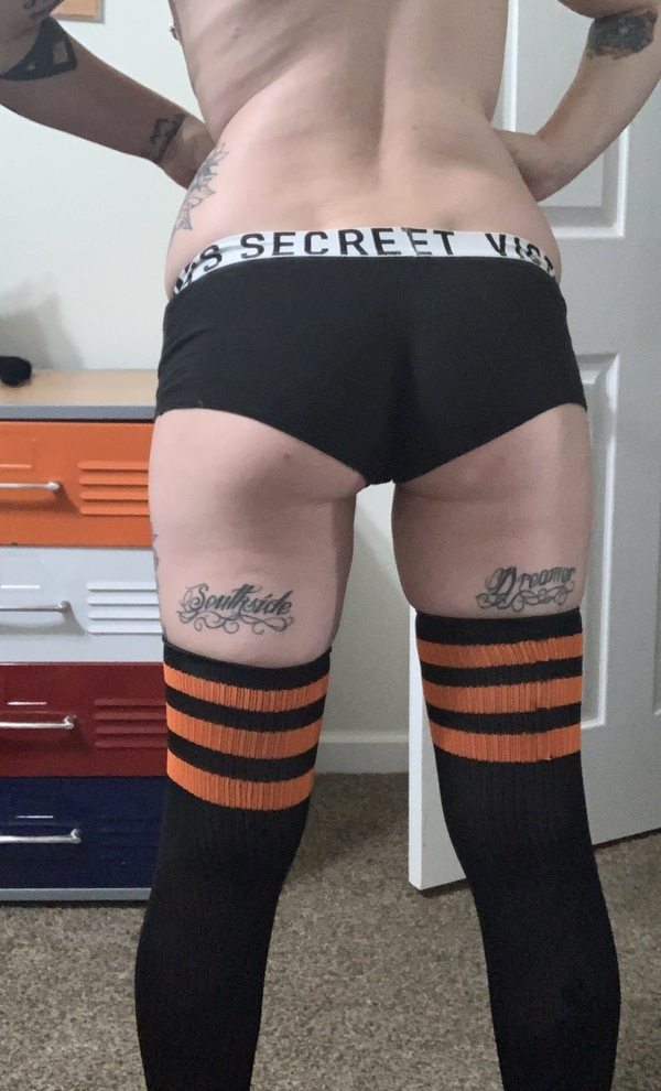 Black and orange thigh highs