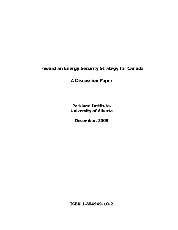 Toward an energy security strategy for Canada