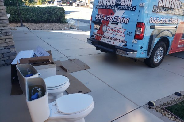 Install Two Kohler Pressure Assist Toilets . Canyon Lake, California
