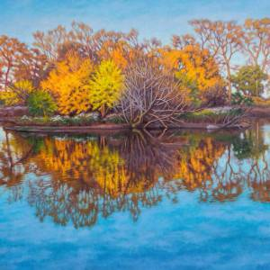 Autumn on South Pond by Fiona Craig. Oil Painting showing Scenery.