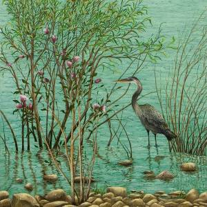 Heron at  Crabtree Creek by Mary Ann King. Oil Painting showing Pets/Animals.