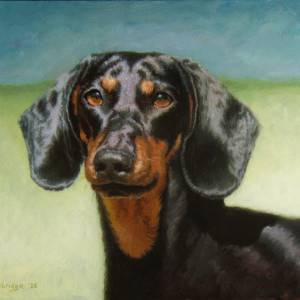 Lucy by David Trowbridge. Oil Painting showing Pets/Animals.