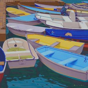 Another Cluster by Rob Brooks. Oil Painting showing Sea.