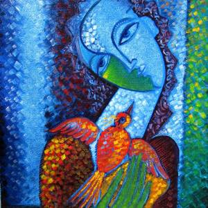 Girl play with Little Bird by Anoushavan Hovakimian. Other showing Portrait.