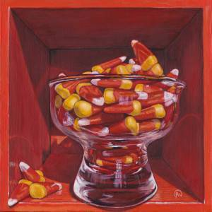 Trick or Treat by Paige Wallis. Acrylic showing Food/Objects.