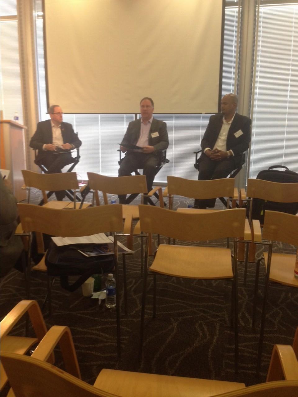 The CISOs panel from left to right, David Finn (Symantec), Tom August (John Muir Health), and Auston Davis (Stanford Children's Health).