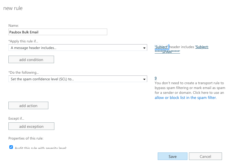 Configure Paubox Spam Filtering with Exchange Admin Center