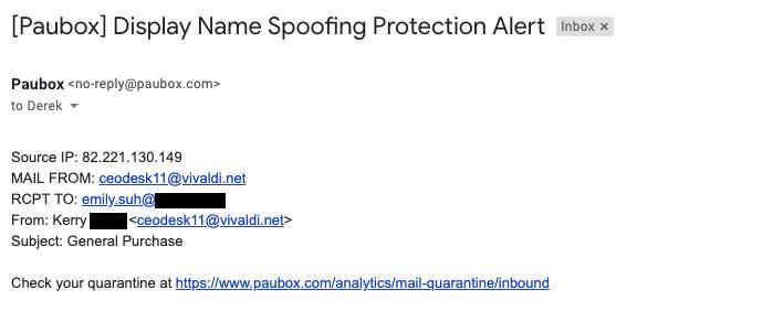 Executive Protection via Display Name Spoofing Filtering - Paubox