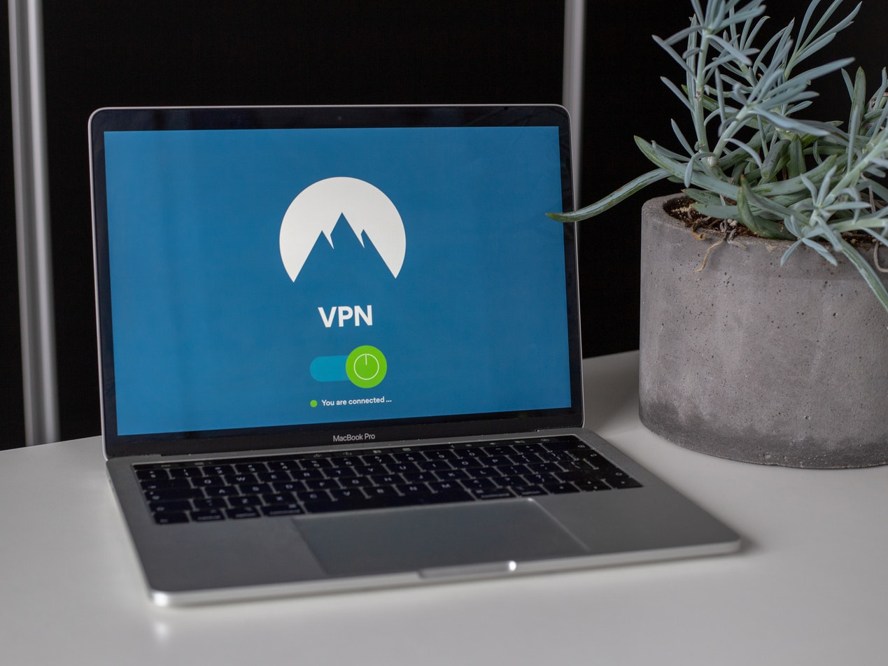 VPN application screen on a laptop computer
