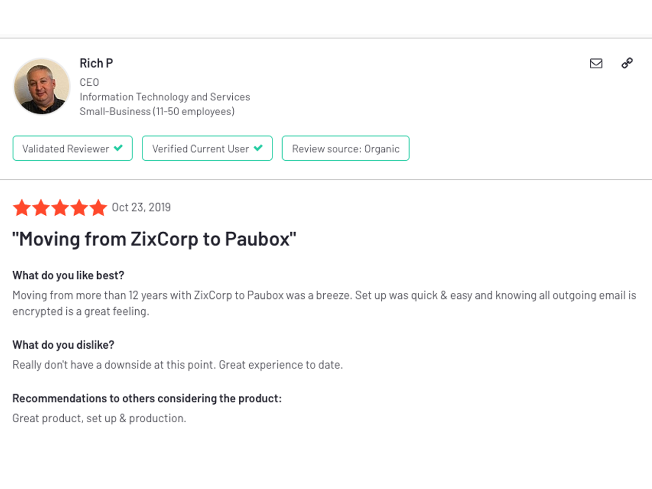 Moving from ZixCorp to Paubox