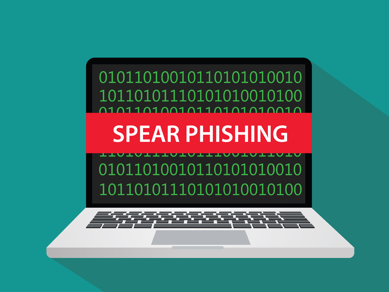 spear phishing attack on laptop computer