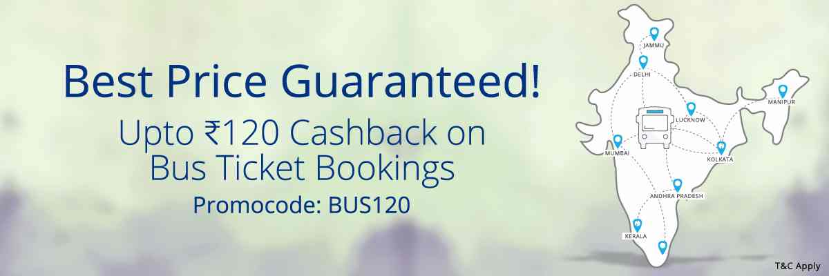 Get 10% Cashback on Bus Tickets Booking of Rs.300 or more at Paytm (max. Rs.120)
