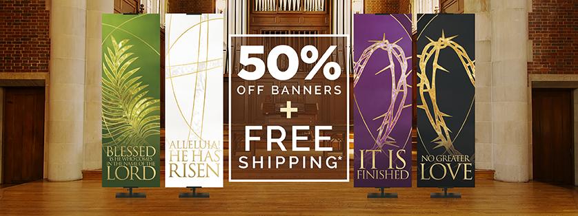 50% Pff Easter Church Banners