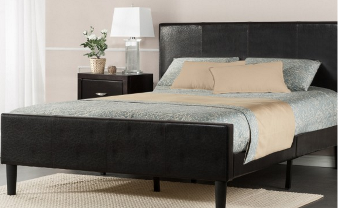 Deluxe Faux Leather Platform Bed with Footboard
