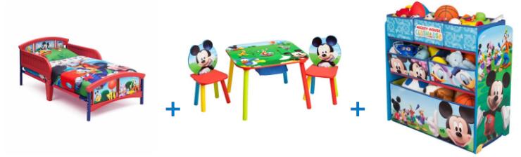 Kids Disney Bed + Table Set + Shelf