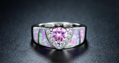 Trillion-Cut Shimmery Pink Opal-Accent Engagement Ring