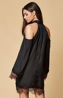 Lucca Couture Lace Trim Cold Shoulder Dress