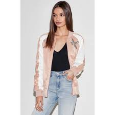 Kendall & Kylie Embroidered Satin Bomber Jacket