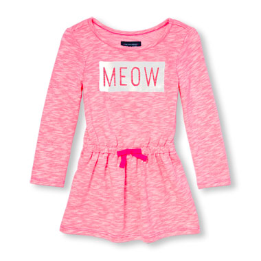 Toddler Girls Active Long Sleeve 'Meow' Flare Sweatshirt Dress