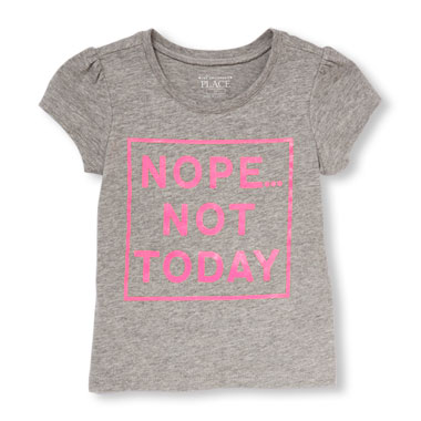 Toddler Girls Short Sleeve 'Nope...Not Today' Glitter Graphic Tee