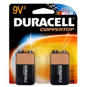 Duracell Coppertop Alkaline Battery, 9V, 2 batteries