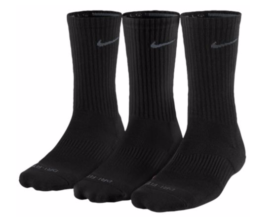 NIKE 3PK DRI-FIT 1/2 CUSHION CREW SOCKS - MEN'S