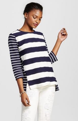 Women's Mixed Stripe Structured Top - Merona™