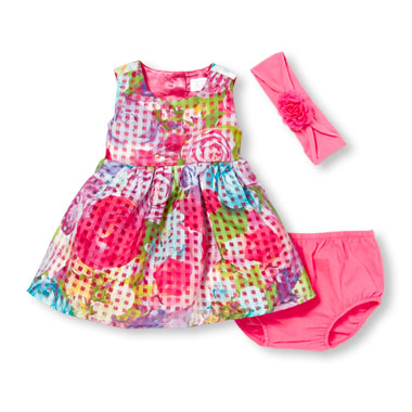 Baby Girls Sleeveless Floral Print Window Pane Dress Headwrap And Bloomers Set