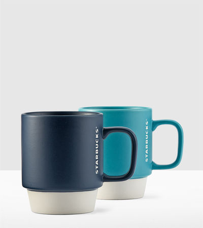 Color Block Handle Mugs - Set of 2