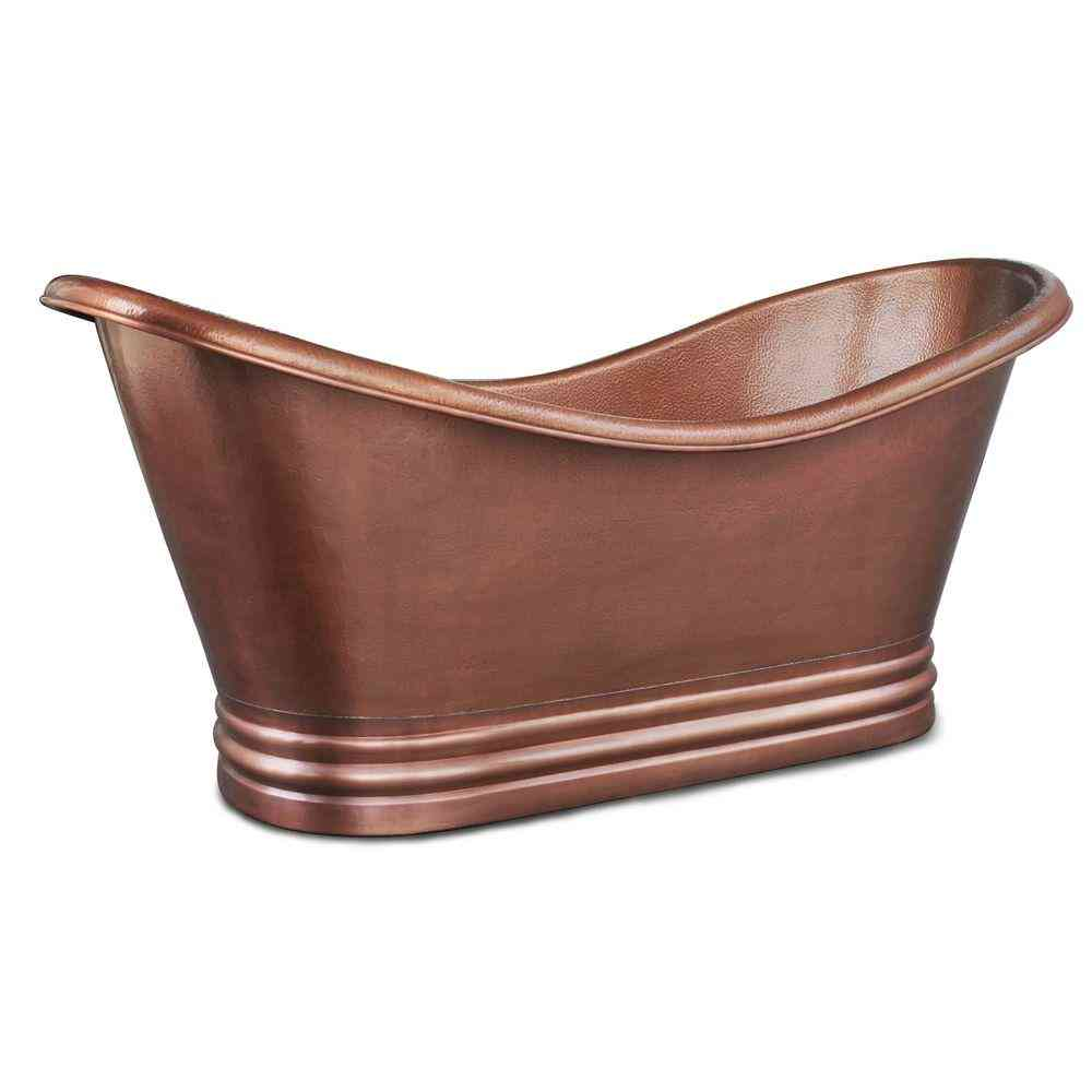 SINKOLOGY Euclid 6 ft. Handmade Pure Solid Copper Freestanding Slipper Tub in 14-Gauge Antique Copper