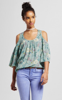 Women's Cold Shoulder Blouse Green - Mossimo Supply Co.™