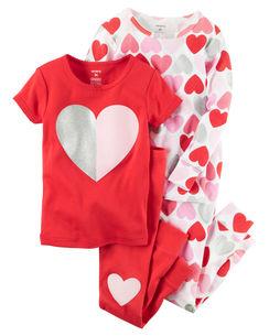 4-Piece Snug Fit Cotton Heart PJs