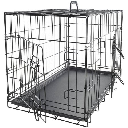 "OxGord 48"" Heavy Duty Foldable Double Door Dog Crate with Divider and Removable ABS Plastic Tray"