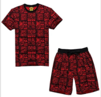 "MADHERO Mens Hip Hop Clearance Jersey Ralph Polo Shirts Sports Shorts Bape Suit (Size XL Chest 35"" Waist 34"", Red Suit)"