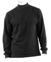 DSCP US Military Thermal Mock Turtleneck Long Sleeve Jersey Shirt, 2XL, Black