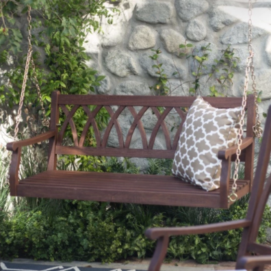 Belham Living Ashbury 4 ft. Wood Porch Swing - Dark Brown