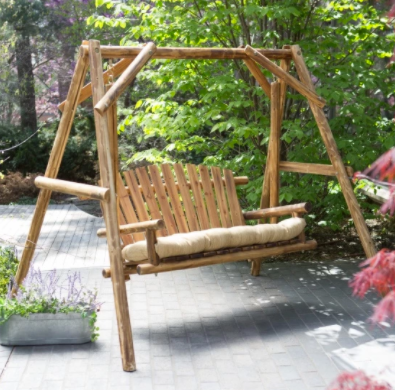 Coral Coast Rustic Oak Log Curved Back Porch Swing and A-Frame Set