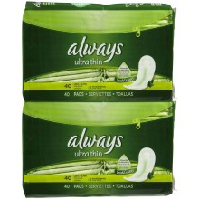 Always Pads, Ultra Thin, Without Wings, Long, Super, 40 pads