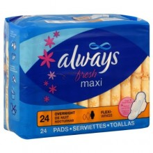 Always Fresh Pads, Maxi, Flexi-Wings, Overnight, Clean Fresh Scent, 24 pads